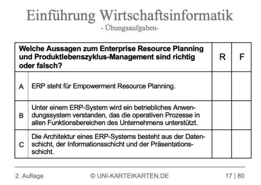 Einfuehrung Wirtschaftsinformatik FernUni Hagen Karteikarte 2.3