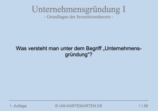 Unternehmensgruendung FernUni Hagen Karteikarte 1.1