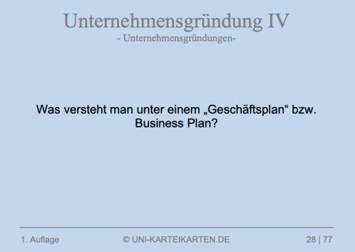 Unternehmensgruendung FernUni Hagen Karteikarte 6.3