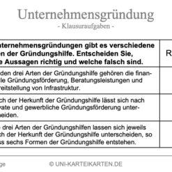 Unternehmensgruendung FernUni Hagen Karteikarte 7.1