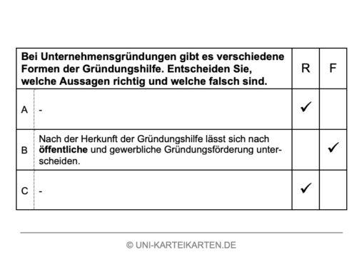 Unternehmensgruendung FernUni Hagen Karteikarte 7.2