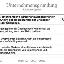 Unternehmensgruendung FernUni Hagen Karteikarte 7.3